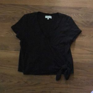 Casual but classic black wrap top from Madewell